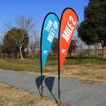 9' Double Size Fiber Glass And Aluminum Teardrop Banner