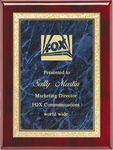 Custom Rosewood Plaque with Blue Brass Engraving Plate