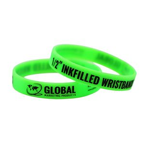 Debossed Ink Filled 1/2 Silicone Wristbands