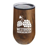 The Woodtone Concord - 14 Oz. Tall Stainless Steel Woodtone Wine Glass With Polypropylene Liner