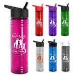 Custom 24 Oz. Slim Fit Water Bottles With Flip Straw Lid