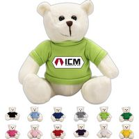 The Brainy White Bear in T-Shirt, A Strong Stock Teddy Bear