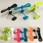 Custom 2 In 1 USB Micro Phone Fan For Cell Phone