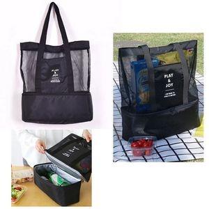 Double Compartment Clear Mesh Insulated Picnic Tote