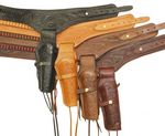 Custom .38 Caliber Hand Tooled Leather Gun Belt w/ Single Holster