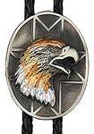 Custom Tri-color Eagle Oval Bolo Tie (Silver Plated)