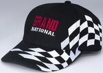 Custom Black Structured Twill Cap w/ Checkered Racing Flag Trim