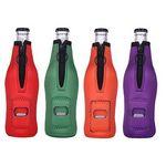 Neoprene Bottle Holder with Zipper and Bottle Opener