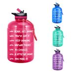 1 Gallon Water Bottle with Time Marker & Straw