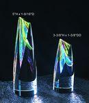 Custom Rainbow Double Slant Cylinder optical crystal award trophy.