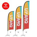 Custom Premium 12' Feather Flag Kit (Double-Sided with Cross Base)