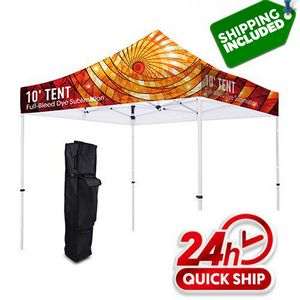 48 Hour Ship Premium 10 Tent Canopy Pop Up Full Color Graphic + Frame Stand Kit ( Dye Sublimation)