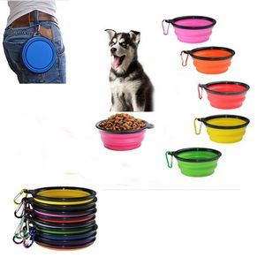 Custom Collapsible Silicone Pet Bowl With Carabiner