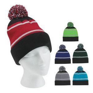 Custom Winter Knit Beanie Hats with Pom
