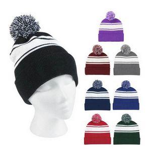 Custom Two-Tone Knit Pom Beanie Hats
