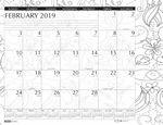 Custom Whimsical Black & White Doodle Imprinted Desk Pad Calendar (Calendar Year)