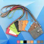 PU Leather Lanyard Vertical ID Card Badge Holders