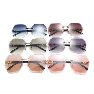 Irregularly Shaped Retro Rimless Oversize Sunglasses