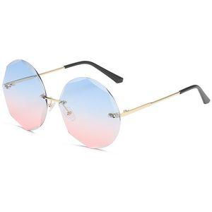Gradient Vintage Shades Polygon Rimless Oversized Sunglasses