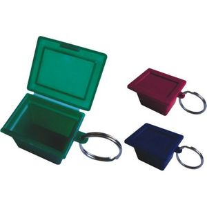 Square Plastic Pill Box with Keychain
