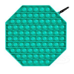 Custom Octagon Large Push Pop Bubble Fidget Toy with Carabiner
