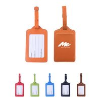 PU Leather Luggage Bag Tags With Full Back Privacy Cover
