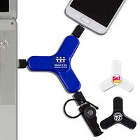 """Play & Charge"" 3-in-1 Cell Phone Charging Cable Spinner"