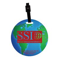 Stock Mini Globe Luggage Bag Tag with Printed ID Panel