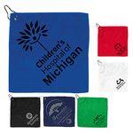 Custom 300 GSM Microfiber Golf Towel w/ Metal Grommet & Clip