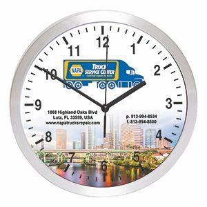 "10"" Brushed Metal Wall Clock w/Glass Lens"