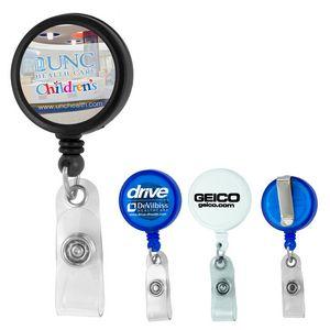 Round Jumbo Retractable Badge Reel & Badge Holder (Spot Color Direct)
