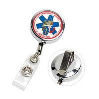 """Dublin Chrome"" Solid Metal Retractable Badge Reel & Badge Holder (Full Color)"