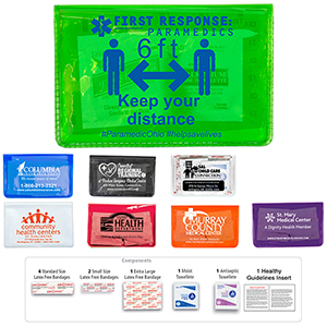 Heal-on-the-Go L 10 Piece Economy First Aid Kit in Colorful Vinyl Pouch (Spot Color)
