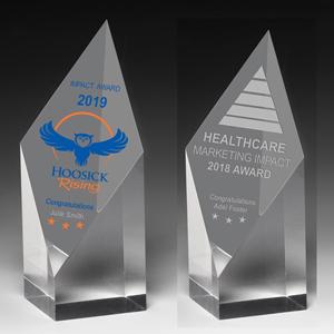 Laser Engraved Acrylic Diamond Obelisk Award (5 3/4x 2x 2)