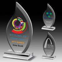 "Screen Printed Multi-Faceted Acrylic Flame Award (4""x 7 3/4""x 3/4"")"