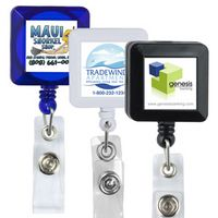 Square Retractable Badge Reel & Badge Holder w/ Metal Rotating Alligator Clip Backing
