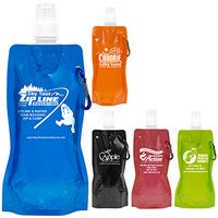 """""""Roll Up"""" 18 Oz. Foldable & Reusable Water Bottle w/Matching Carabiner"""