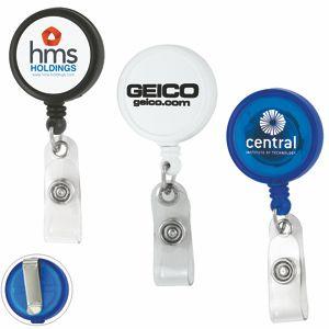 Round Retractable Badge Reel & Badge Holder w/Metal Slip Clip Backing