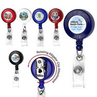 Round Retractable Badge Reel w/Rotating Alligator Clip Backing