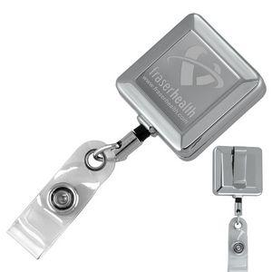 Square Chrome Solid Metal Retractable Reel & Badge Holder w/Laser Imprint