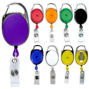 Blank Carabiner Style Retractable Badge Reel w/ Metal Slip Clip Back