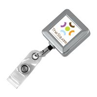 Square Chrome Solid Metal Retractable Badge Reel & Badge Holder (Full Color Vinyl Label)