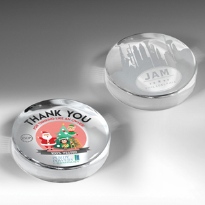 Prestige Round Glass Paperweight (Screen Print)