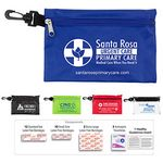 Custom 28 Piece Multiple Bandage First Aid Kit in Supersized Zipper Pouch w/ Plastic Hook