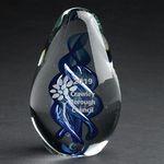 Custom Blue Azure Art Glass Award