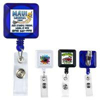 Square Retractable Badge Reel & Badge Holder w/ Metal Slip Clip Backing