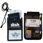 Custom 8 Function Tradeshow Bagdeholder, Neck Wallet, and Travel Passport and Boarding Pass Holder