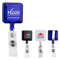 Square Retractable Badge Reel & Badge Holder w/Metal Slip Clip (Spot Color Direct)
