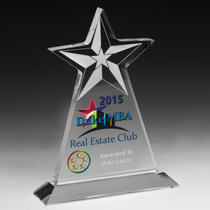 Clear Vertical Star Award w/Star Background - 4 Color Process