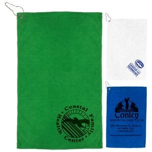"12"" x 18"" - ""The Iron"" 300 GSM Heavy Duty Microfiber Golf Towel with Metal Grommet and Clip"